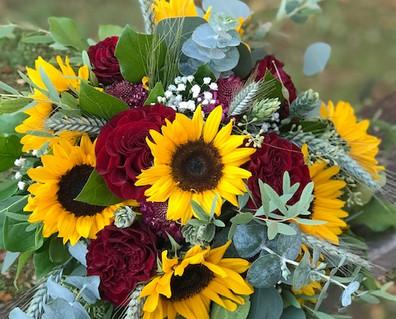 Sunflowers & deep reds