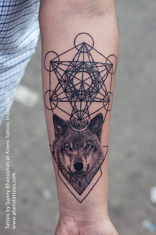 Wolf Tattoo with Metatron Cubes