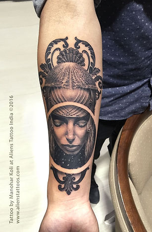 Gothic Ornamental Portrait Tattoo