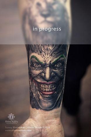 Double exposure Lion-Joker Tattoo