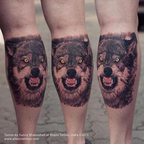 Enraged Wolf Tattoo