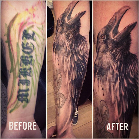 Raven and Wings Tattoo (Cover Up)