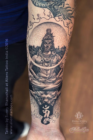 Dotwork Geometrical Shiva Tattoo