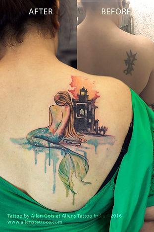 Watercolor Mermaid Tattoo - CoverUp