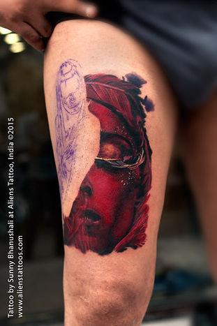 Surrealistic Colour Portrait Tattoo