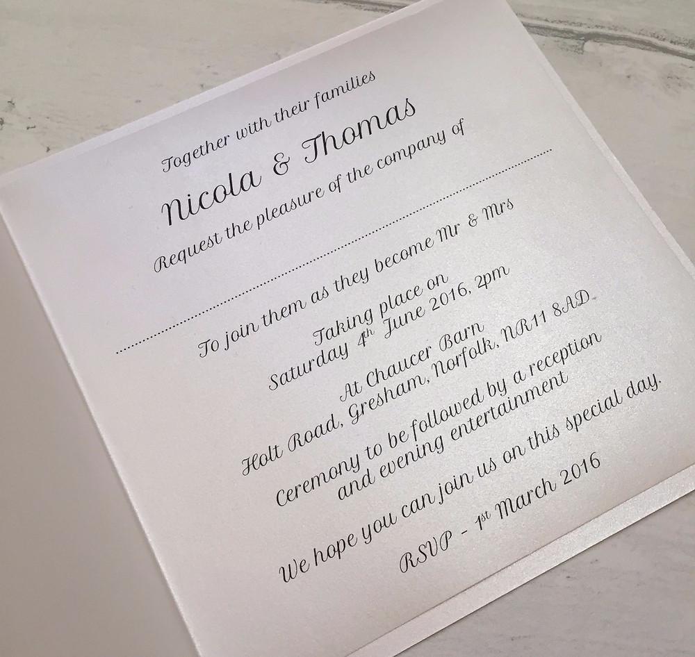 Classic fold invitation
