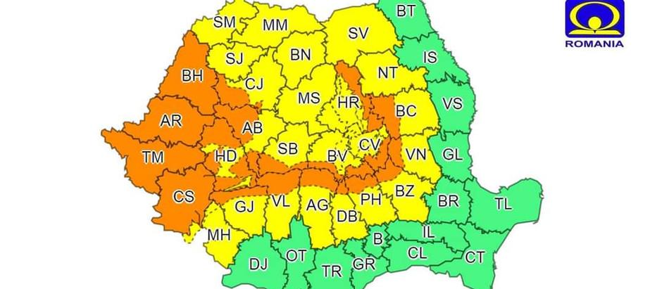 Cod portocaliu de ploi în județul Hunedoara