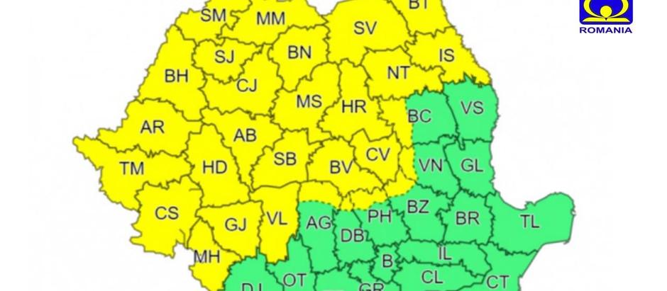 Cod galben de ploi în județul Hunedoara