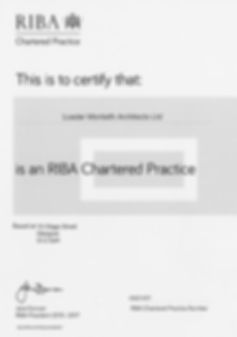 Loader Monteith Certificate of RIBA accreditation