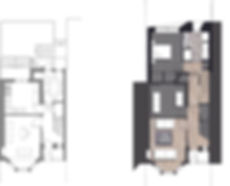 Loader Monteith Jordanhill Extension Existing and proposed ground floor plan
