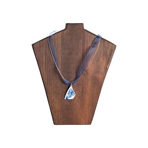Silk necklace with porcelain pendant