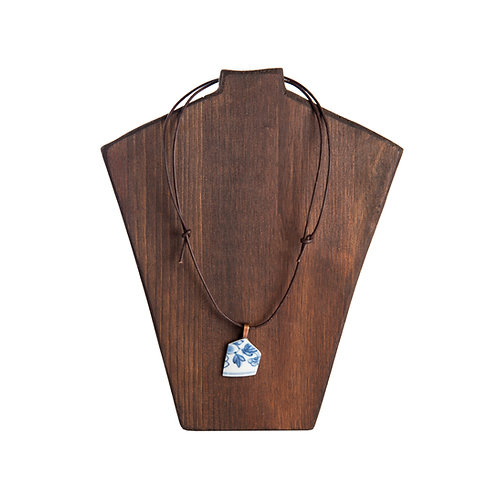 Leather necklace with porcelain pendant