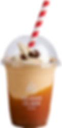 karamellmilkshake med softis og saus i b