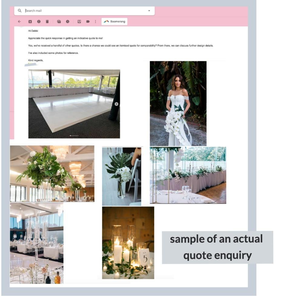 sydney wedding floral design quote