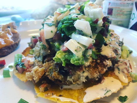 Vegan Crab Cake Tostada with Coconut Ceviche