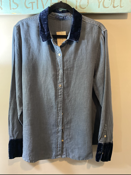 Heavy Linen Shirt with Velvet Collar and Cuffs