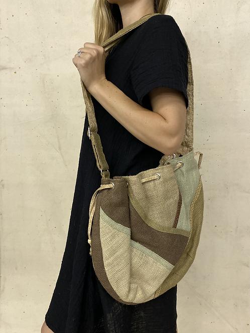 Patchwork Burlap Shoulder Bag