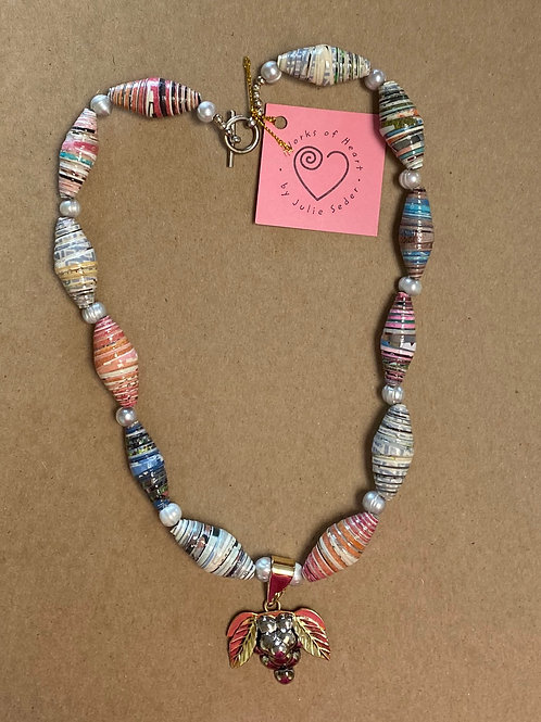 Rolled Paper Necklace w/ Pendant