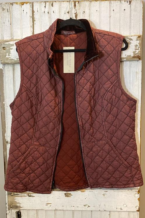 Quilted Vest w/ Velvet-lined Collar
