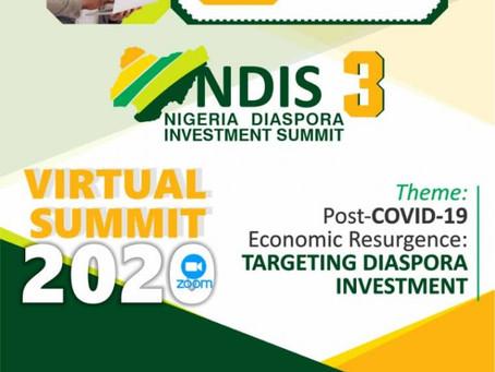 NIGERIA DIASPORA INVESTMENT SUMMIT (NDIS) 6TH-7TH NOVEMBER, 2020