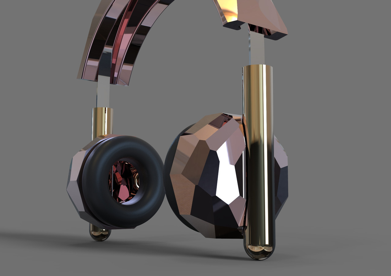 Rose Gold Discoball Headphones