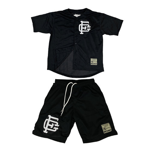Mesh Baseball Jersey & Shorts Set Black