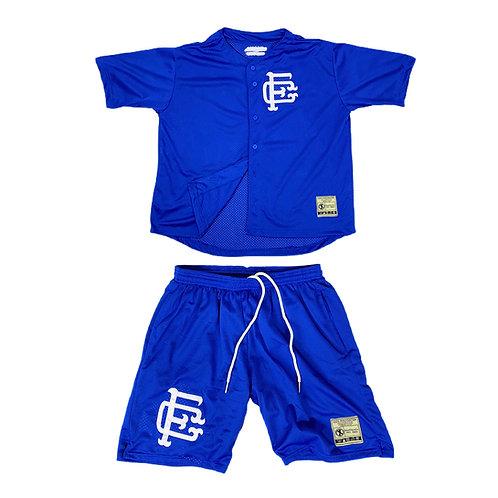 Mesh Baseball Jersey & Shorts Set Blue