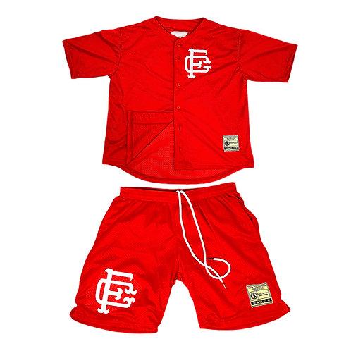 Mesh Baseball Jersey & Shorts Set Red