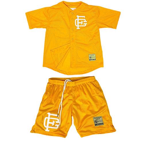 Mesh Baseball Jersey & Shorts Set Gold