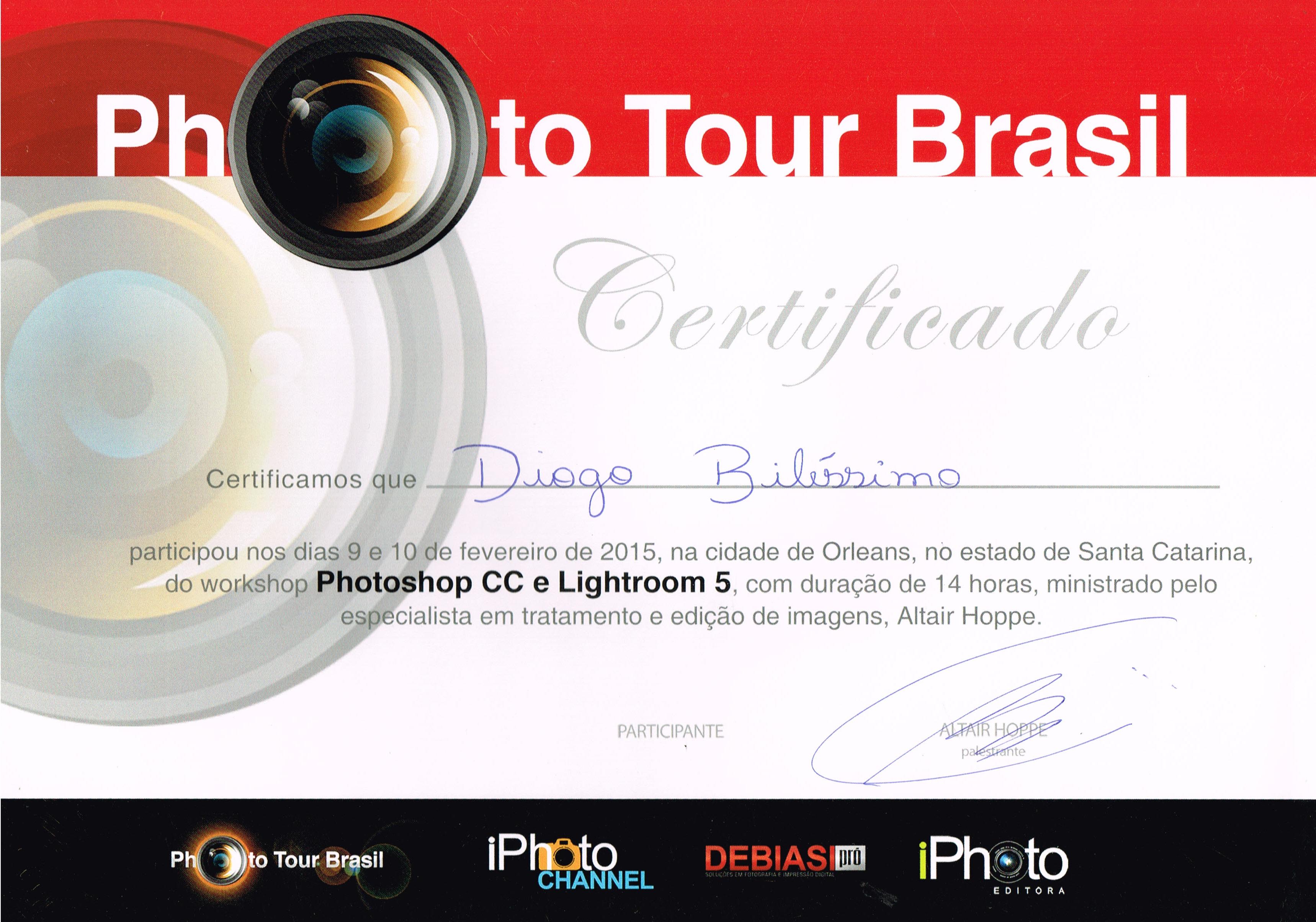 Fotógrafo Criciúma Certificados