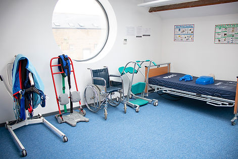 Healthcare training equipment: Sara Steady, Wheelchair, Standing Aid, Full body hoist, Profiling bed, First Aid mannequins