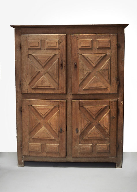 Rustic French Bleached Oak Cupboard, 18th Century Large Four-Door Cupboard