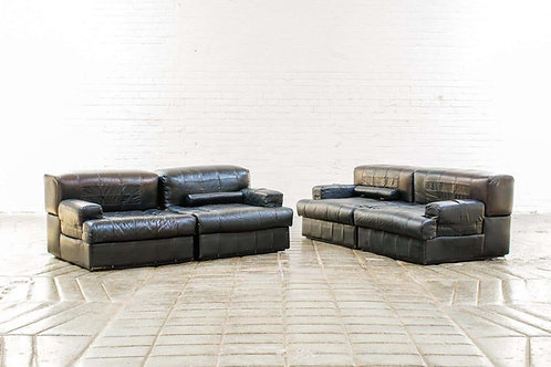 Percival Lafer Brazilian Black Leather Modular Sofa/Two Pair Chairs