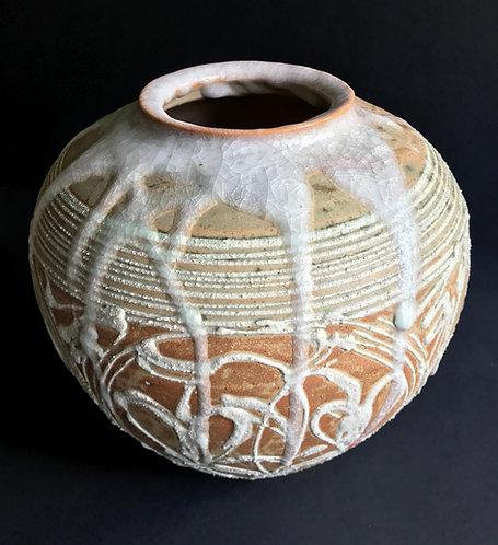 Japanese Ceramic Pot, possibly Mashiko with dripped crackle glaze 1970s