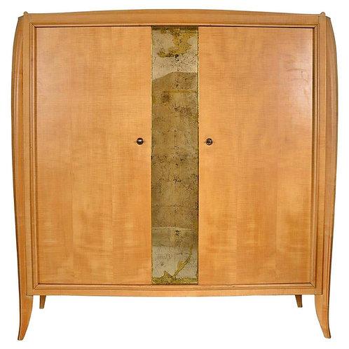 French Editions AV Burr Maple Wardrobe with Mirror Panel, 1940s