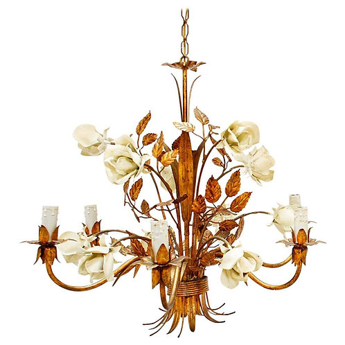 French Gilt and Enamel Painted Tôle Chandelier with Large Cream Roses