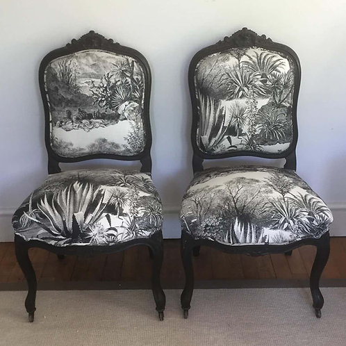 Pair of 19th Century French Ebonized Side Chairs