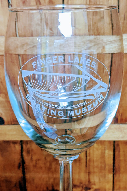Finger Lakes Boating Museum etched wine glass