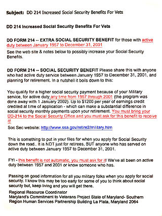 Increased Social Security Benefits Fro V