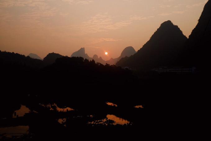 Beautifiul Yangshuoan sunrise from our balcony.