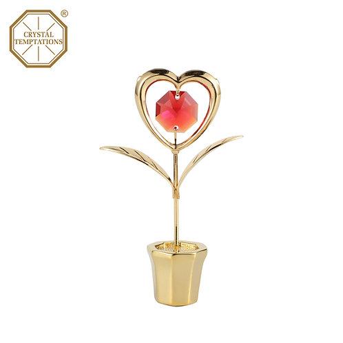 24K Gold Plated Figurine Flowers with Swarovski Crystal