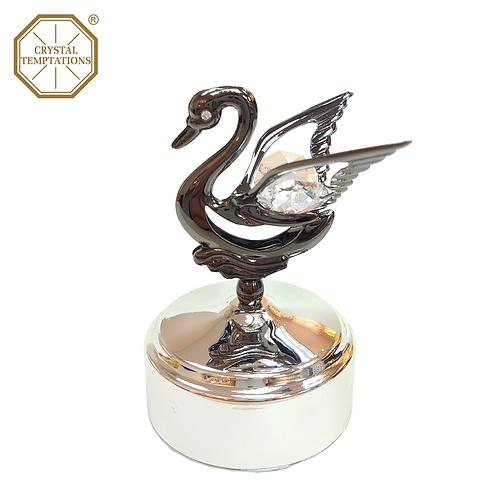 Blackish Plated Lacquered Swan with Swarovski Crystal Music Box