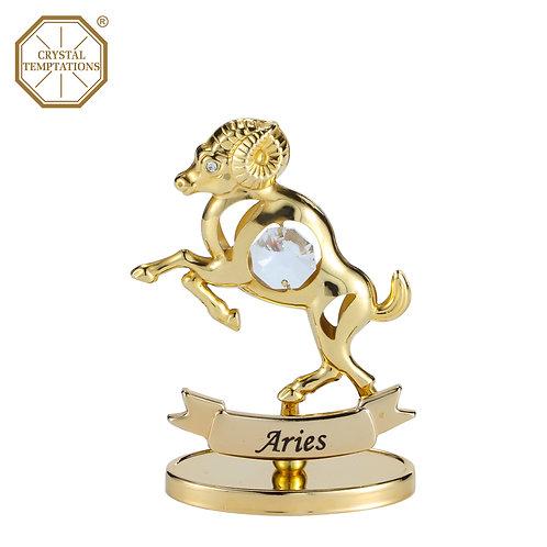 24K Gold Plated Figurine Aries with Swarovski Crystal