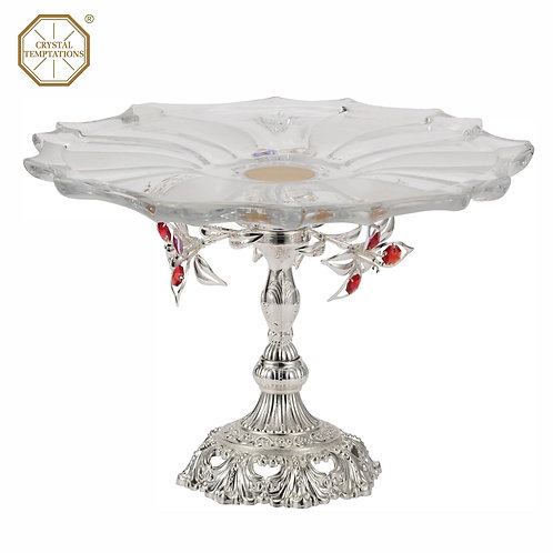 A glass top and metal cake stand with Deluxe Silver plated decoration (flowers)