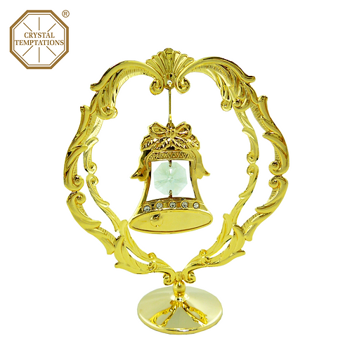 24K Gold Plated Christmas Bell with Swarovski Crystal