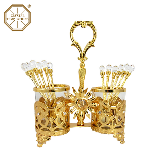 Gold Plated Kitchenware Spoon Holder with Swarovski Crystal