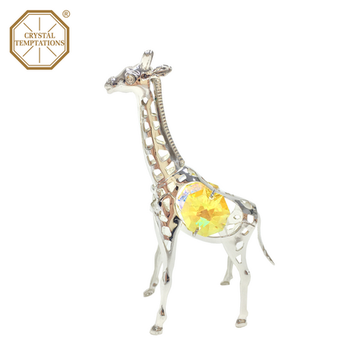 8a2580d3d Silver Plated Lacquered Figurine Giraffe with Swarovski Crystal