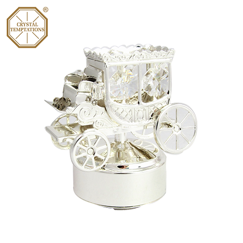 Silver Plated Baby Carriage with Swarovski Crystal Music Box