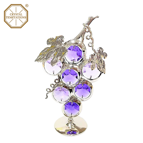Silver Gold Plated Lacquered Figurine Grape with Swarovski Crystal