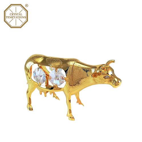 24K Gold Plated Figurine Ox with Swarovski Crystal
